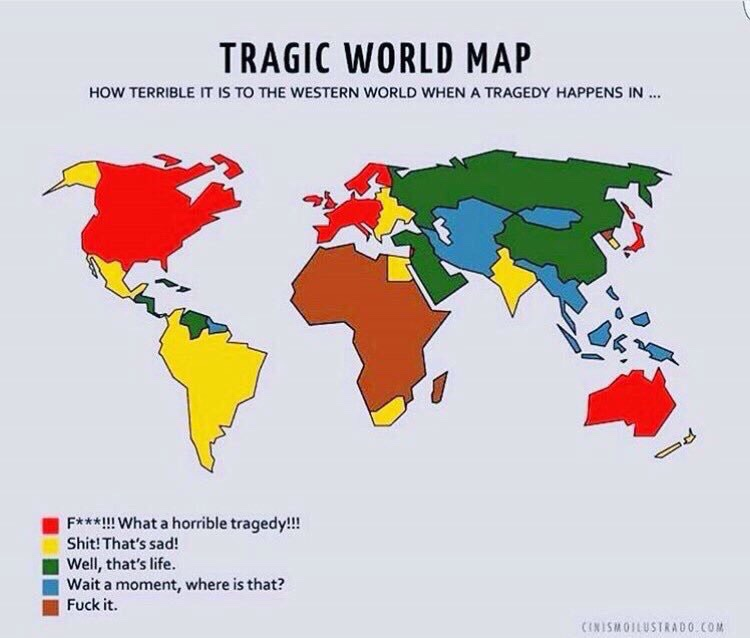 How the west responds to tragedies by continent the world tragic world map how terrible it is to the western world when a tragedy happens in gumiabroncs Images
