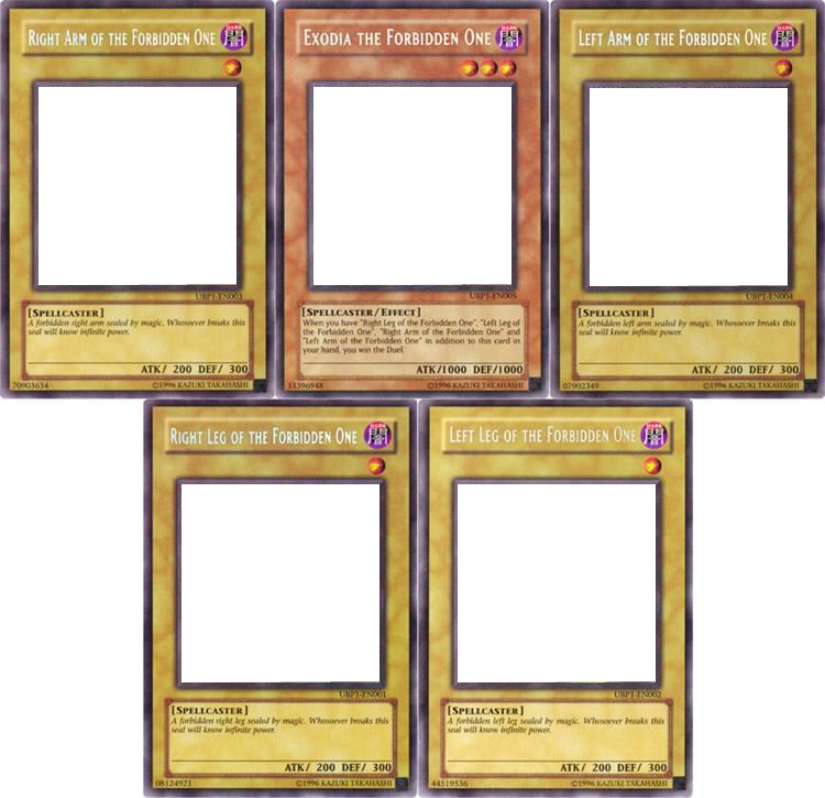 Five Pieces Of Exodia Template Exodia The Forbidden One Know