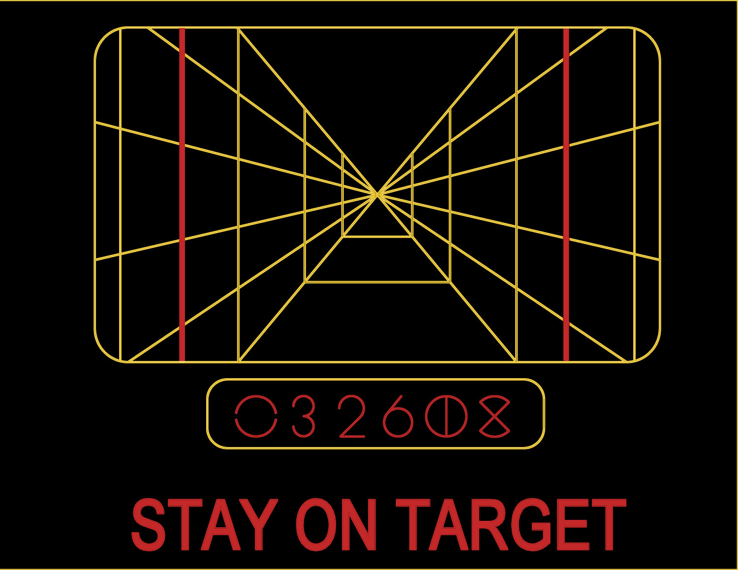 80ee32504af2 STAY ON TARGET T-shirt Luke Skywalker yellow text font line