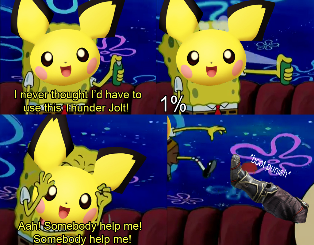 pichu takes damage super smash brothers melee know your meme