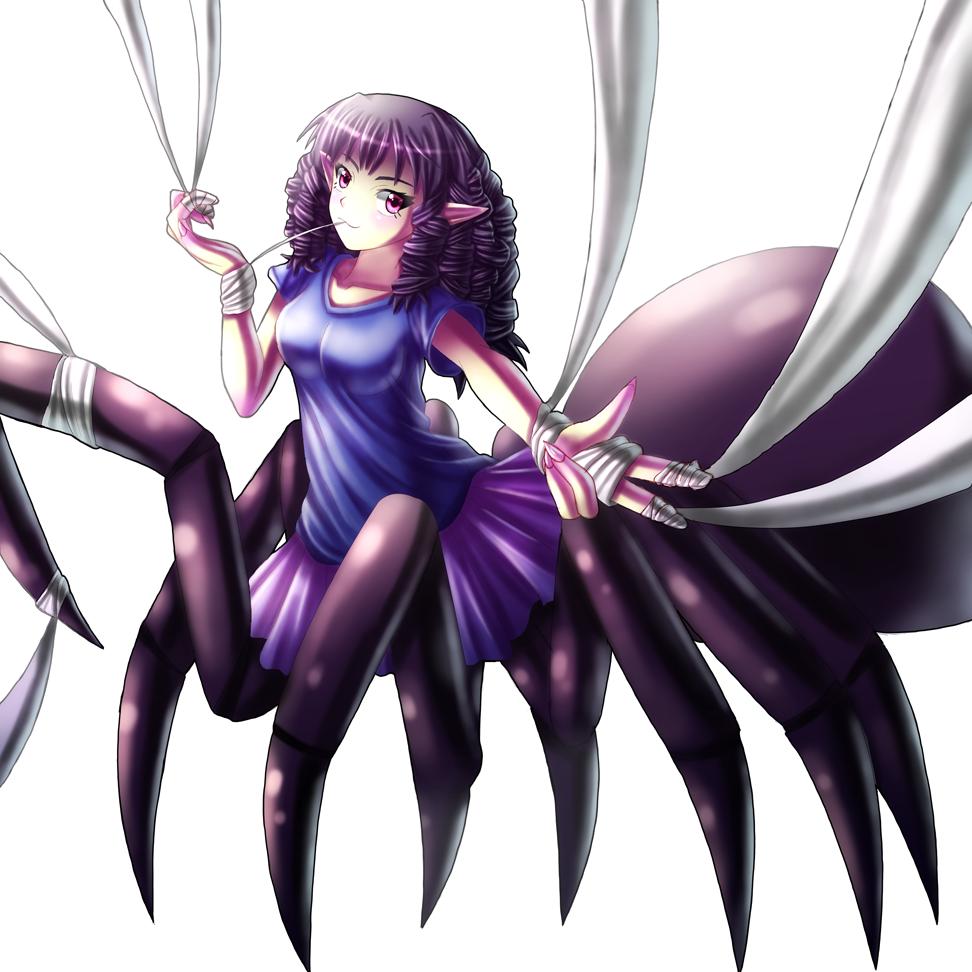 Arachne spider purple anime violet fictional character black hair
