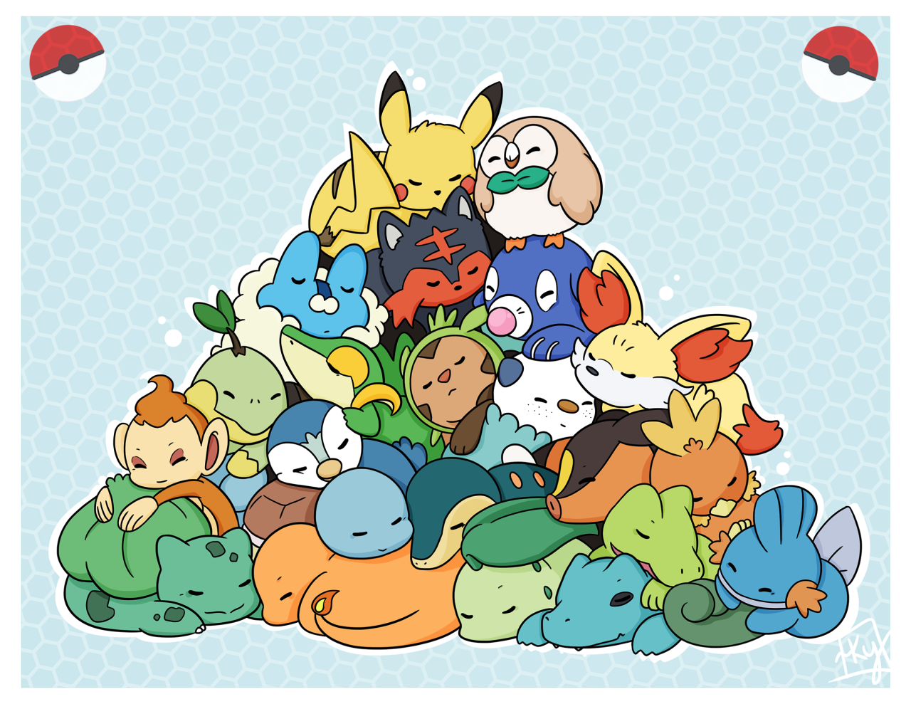 Starters sleeping in a pile.   Pokémon   Know Your Meme