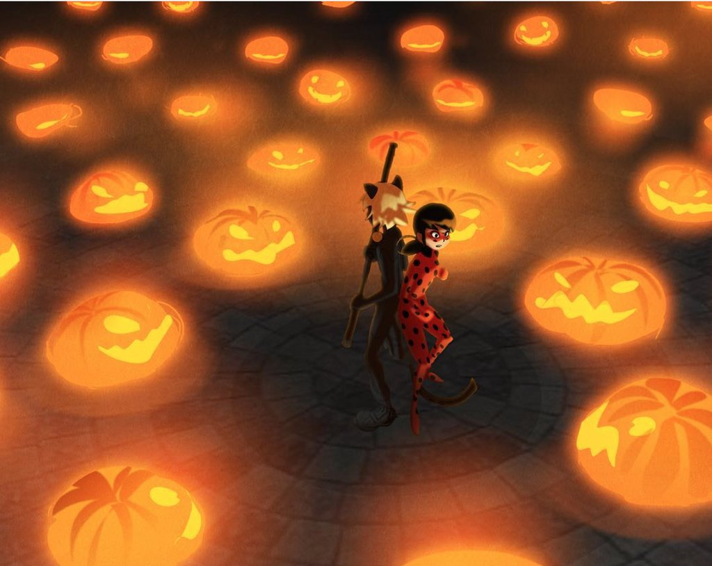 Adrien Agreste Marinette Dupain Cheng Halloween Orange