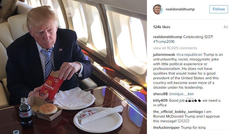 Original Instagram Post   Donald Trump's McDonald's Meal