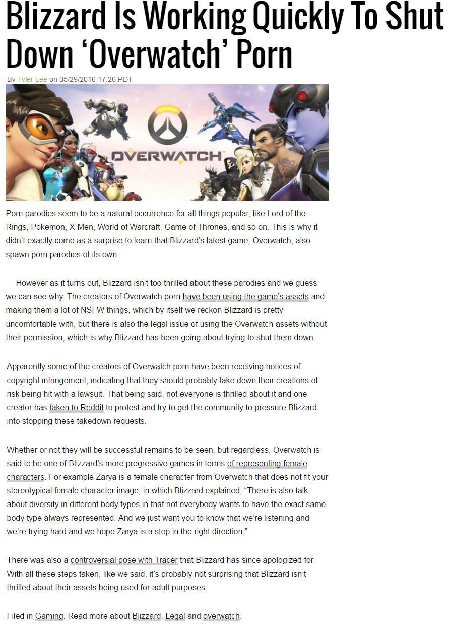Blizzard Is Working Quickly To Shut Down Overwatch Porn By Tyler Lee On 05