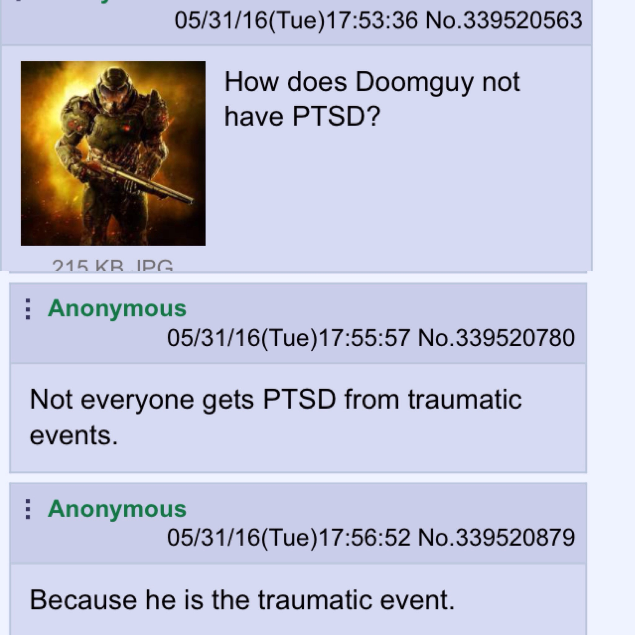 Image result for doomguy ptsd meme