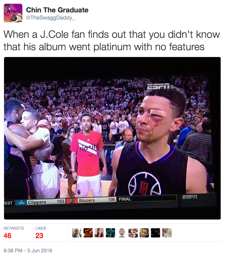 c08 nba j cole went platinum with no features know your meme