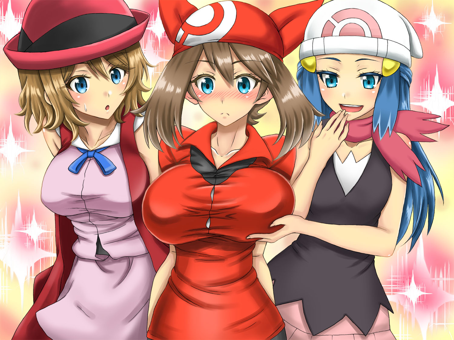Pokemon girls big tits, sexy chick background