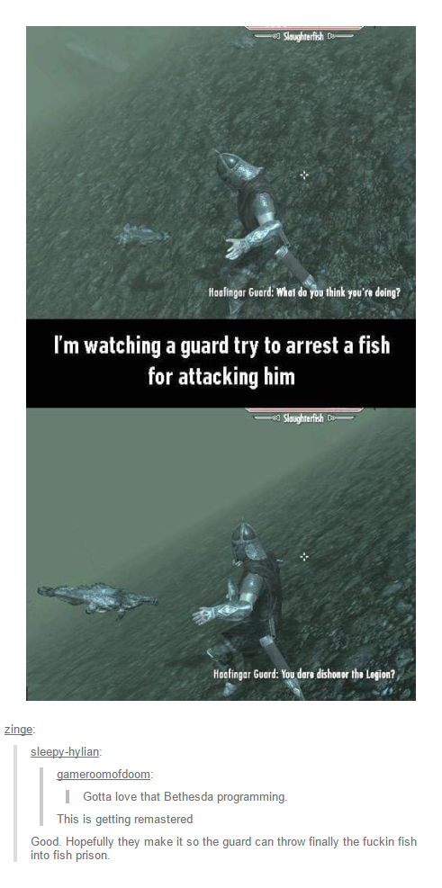 I'm watching a guard trying to arrest a fish for attacking