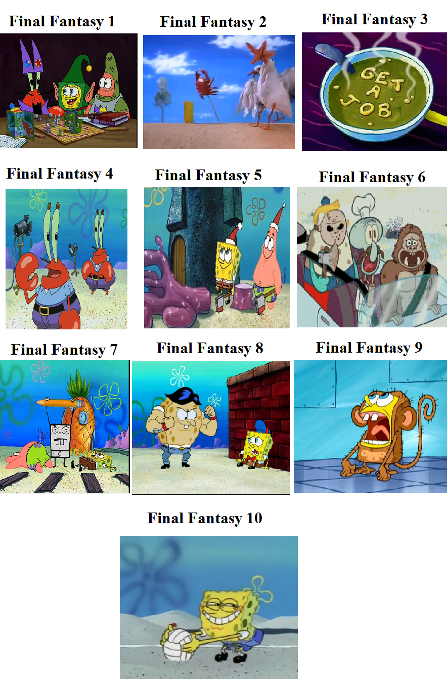 final fantasy spongebob comparison spongebob comparison charts