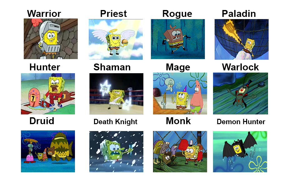 World Of Warcraft Classes Spongebob Comparison Charts Know