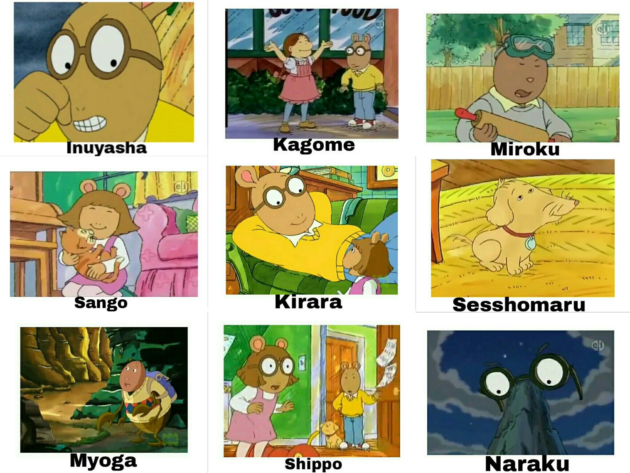 Inuyasha Characters Compared To Arthur Spongebob Comparison Charts