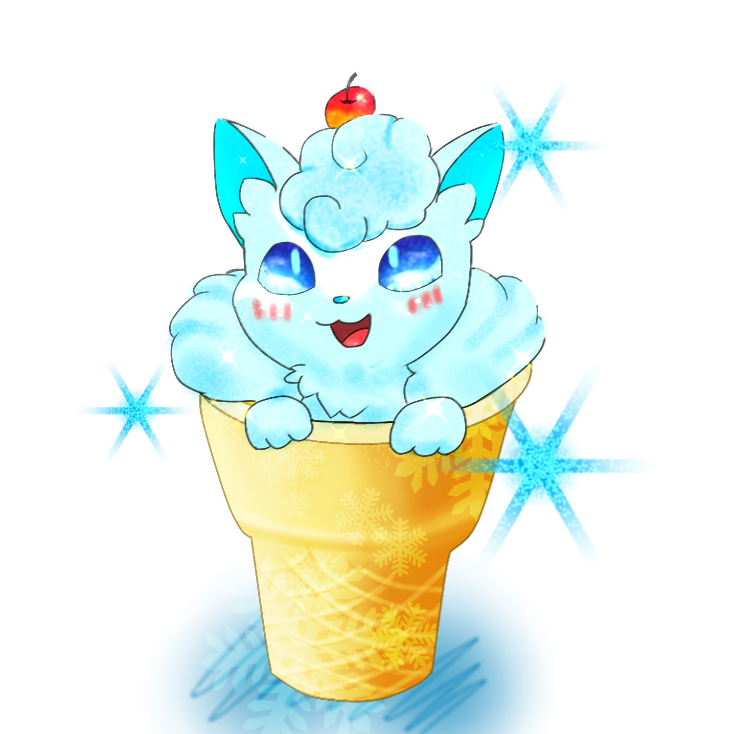 Alolan vulpix in an ice cream cone pokmon know your meme pokmon xd gale of darkness pokmon sun and moon ice cream pikachu ice cream cone sciox Choice Image