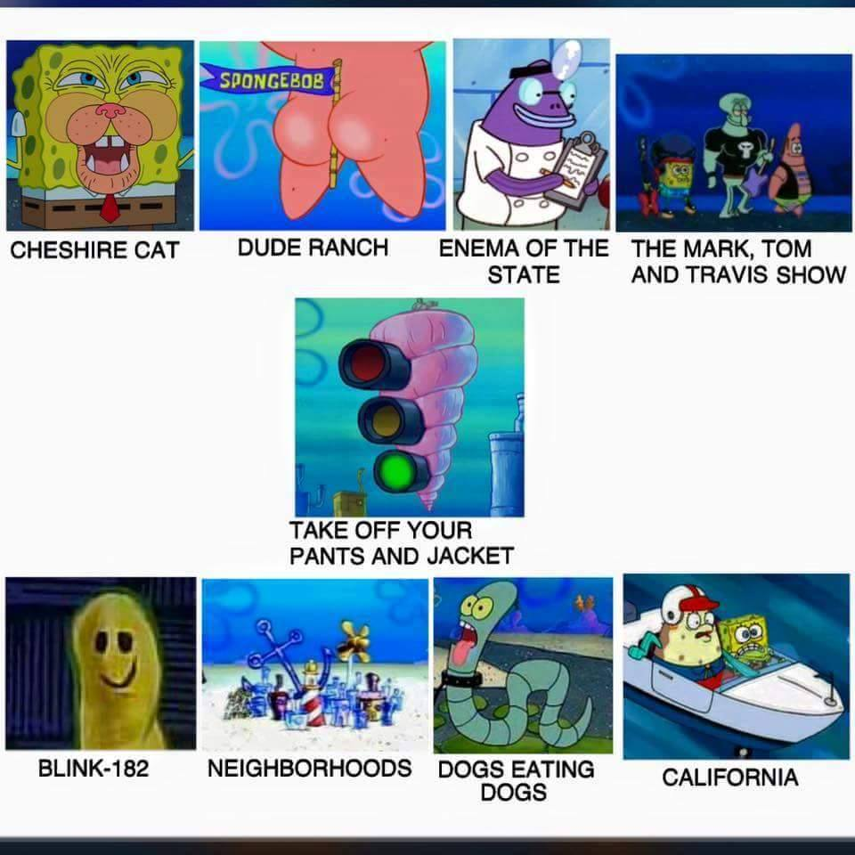 Spongebob dude ranch enema of the state the mark tom and travis show cheshire cat