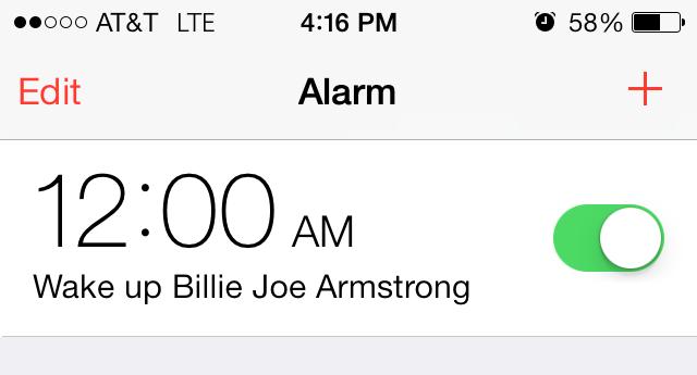 ooo at t lte 4 16 pm 58 edit alarm 12 00am o wake