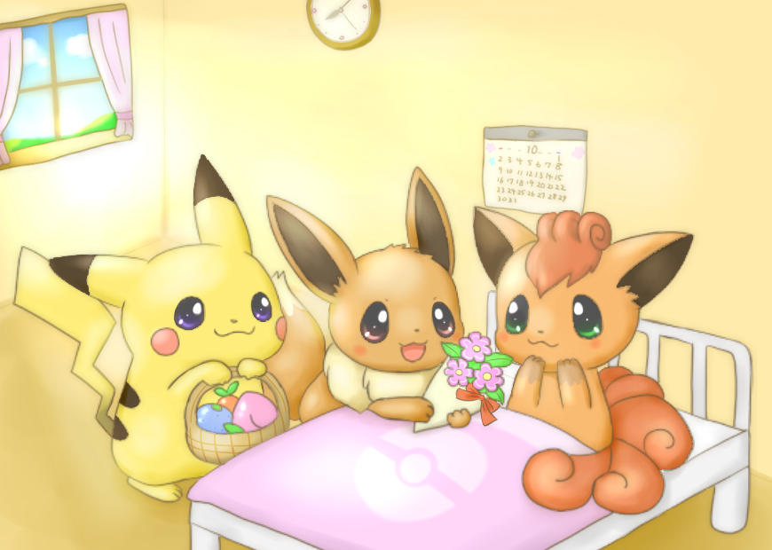 Pikachu And Eevee Cheering Up Vulpix With Some Gifts Pokémon