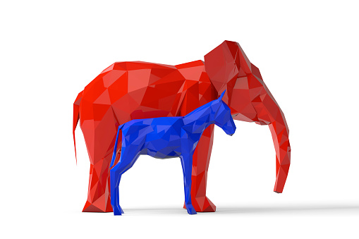 polygonal republican elephant and democratic donkey politics
