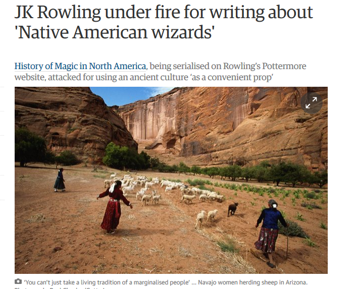J K  Rowling is accused of appropriating Native American