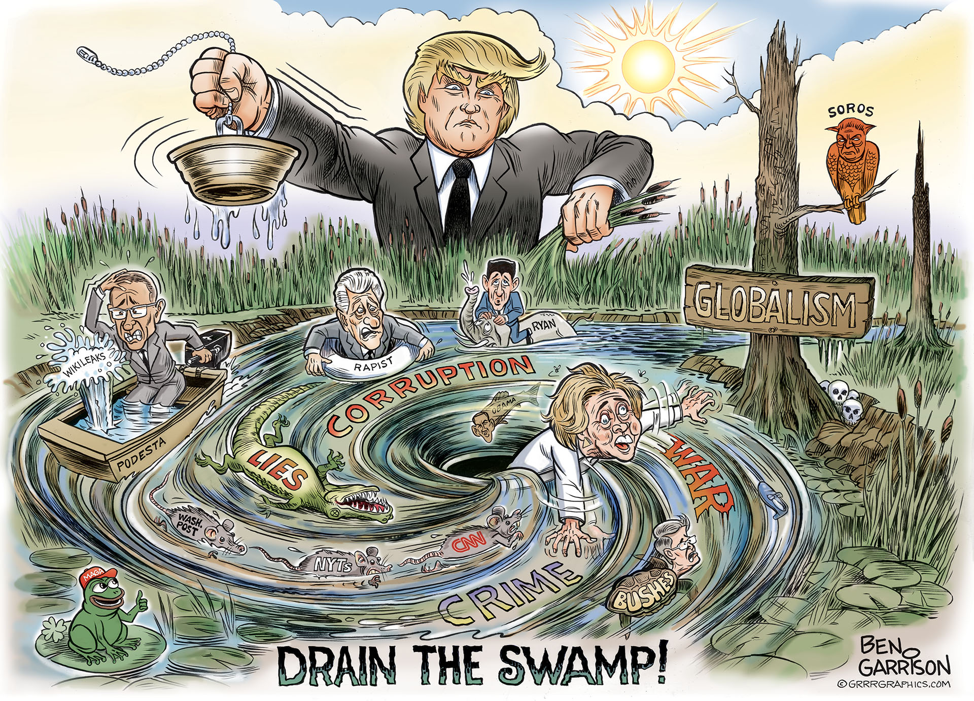 Image result for trump drain the swamp cartoon