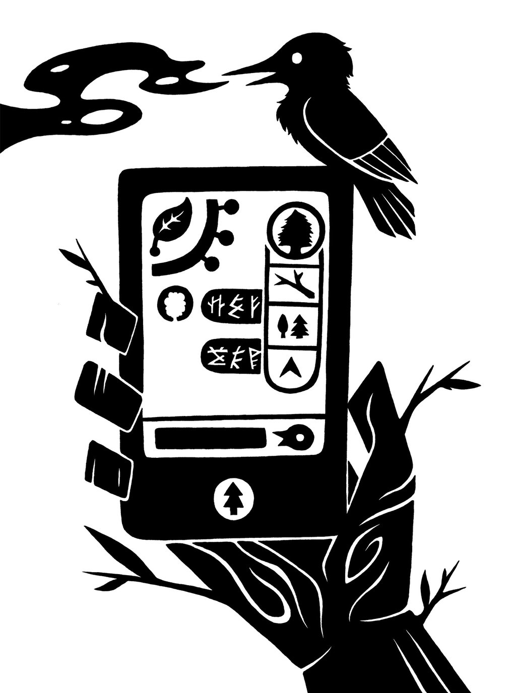 bird black and white vertebrate font art