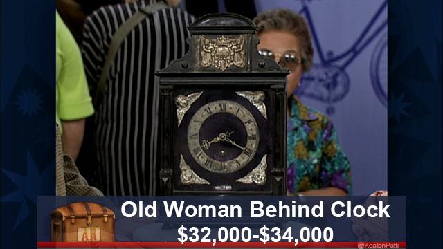 Old Woman Behind Clock $32,000-$34,000 AR - Old Woman Behind Clock: $32,000-$34,000 Fake Antiques Roadshow