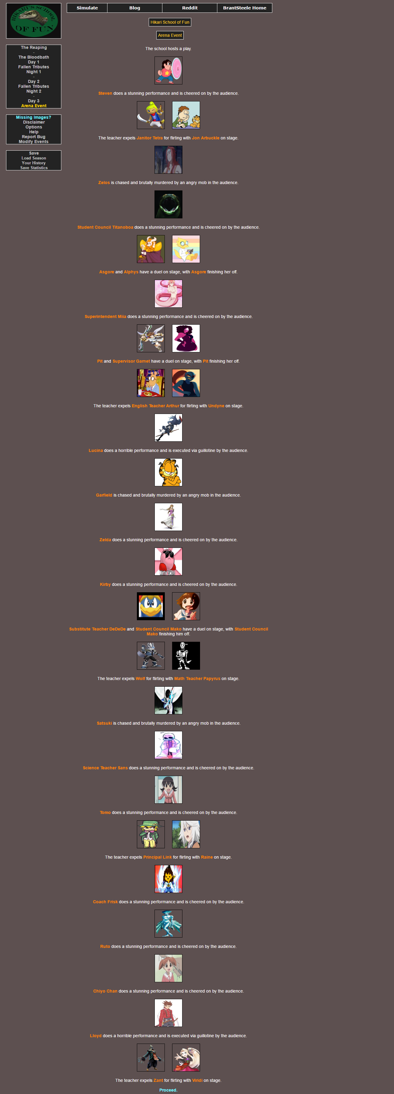 A horrid school play   Hunger Games Simulator   Know Your Meme