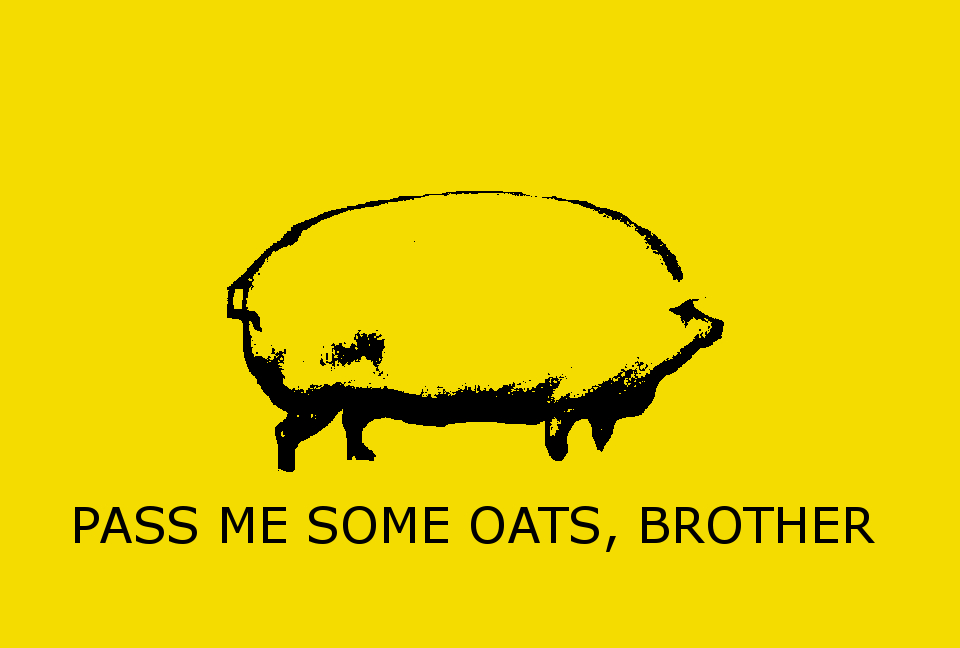 PASS ME SOME OATS BROTHER Yellow Text Font