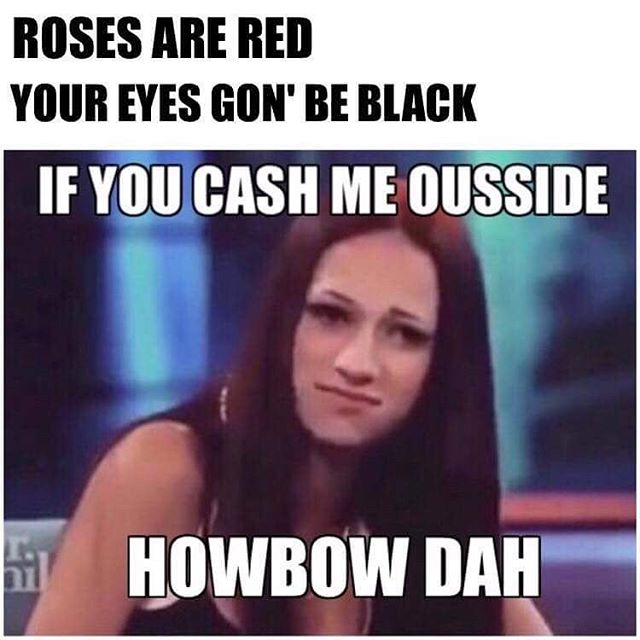 3cc roses are red cash me ousside howbow dah know your meme