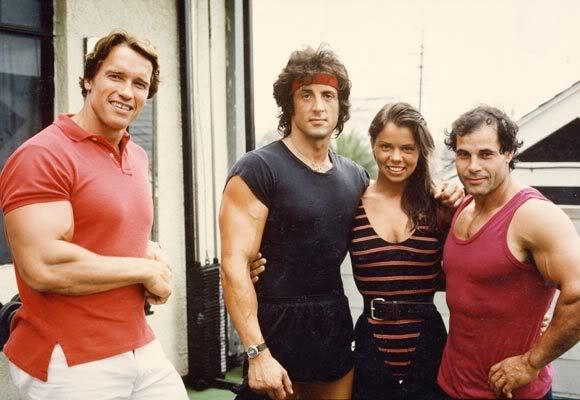 Arnold Schwarzenegger Sylvester Stallone Rocky Shoulder Muscle Physical Fitness