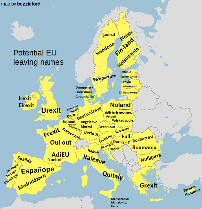 Names for other leaving eu countries united kingdom withdrawal map by bezzleford swexiti potential eu leaving names swedone extonia ture egresstonia sweparture leavia dumpmark donemark gumiabroncs