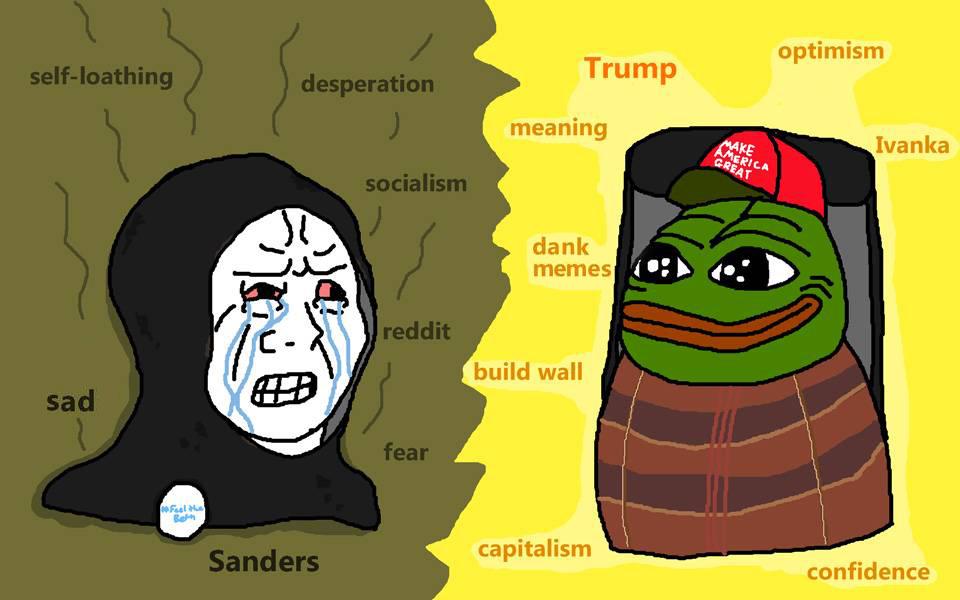 f3e trump vs sanders pepe the frog know your meme