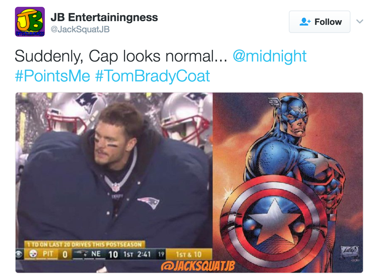 Captain America Tom Brady S Huge Jacket Know Your Meme