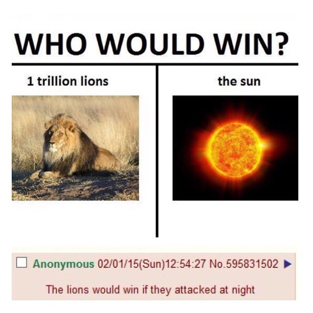 1 trillion lions vs the sun who would win know your meme