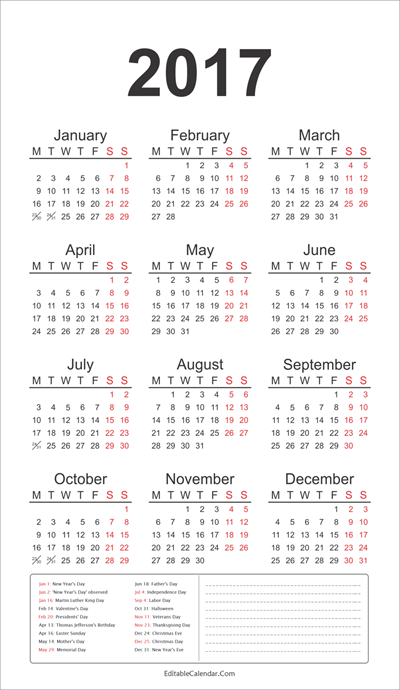 2017 Calendar Template With All Holidays Know Your Meme