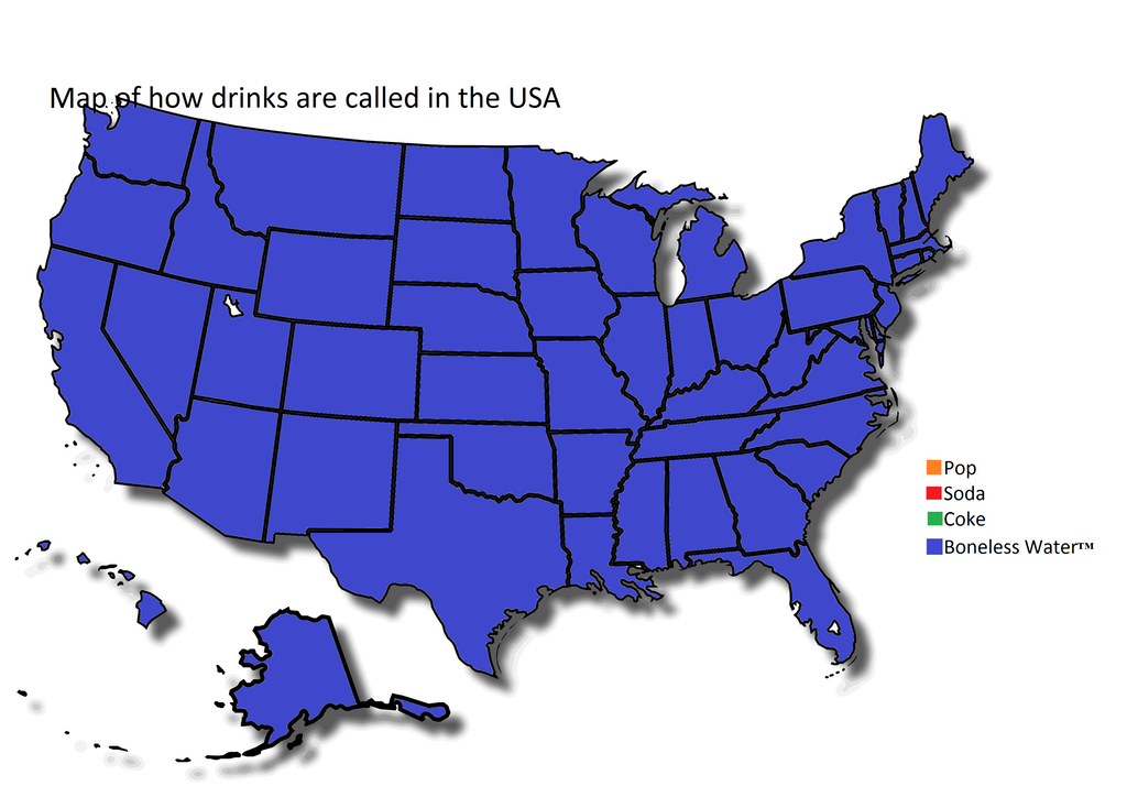 Picture of: Map Of How Drinks Are Called In The Usa Boneless Water Know Your Meme