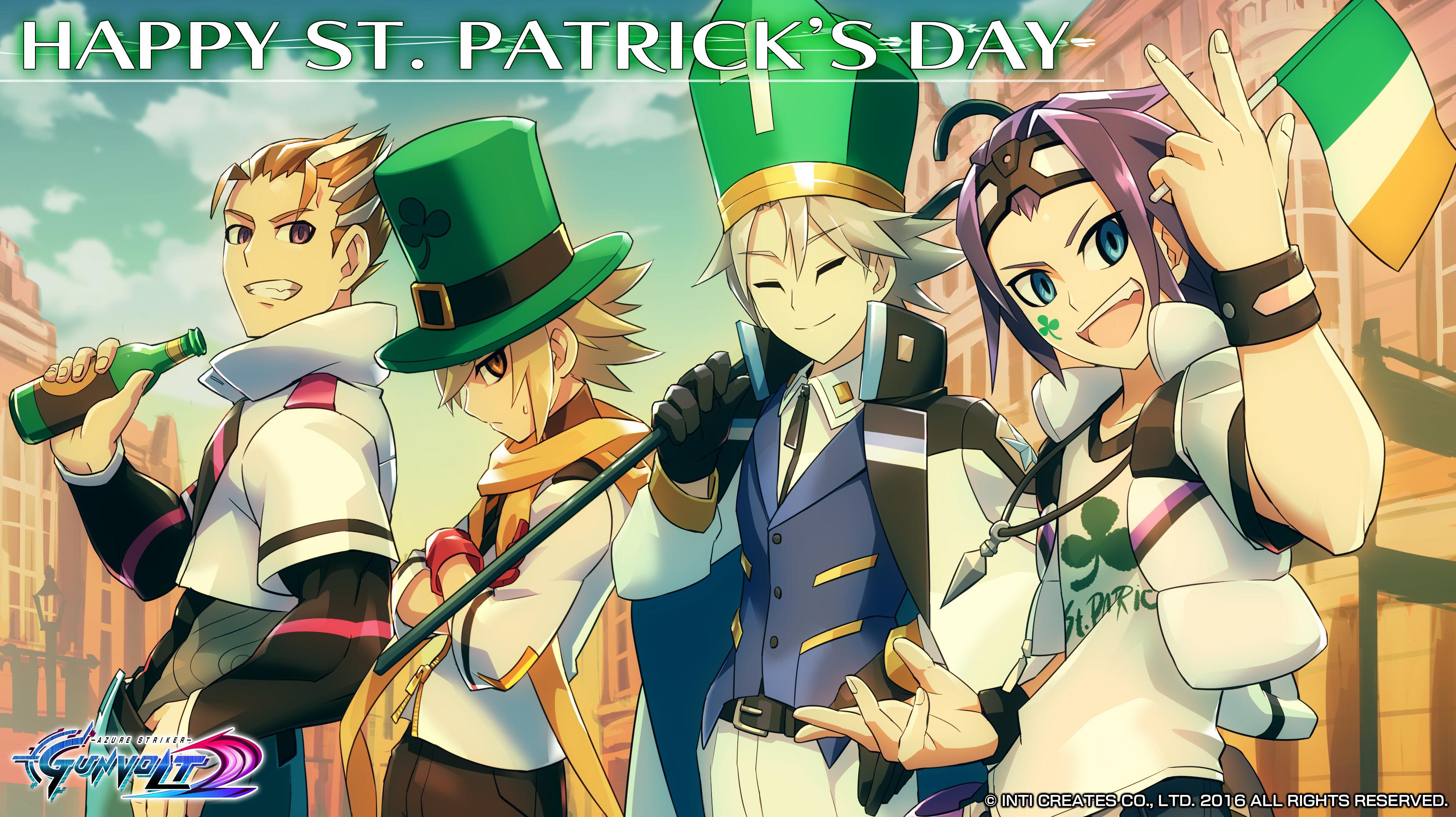 St Patrick S Day Wallpaper Azure Striker Gunvolt Know Your Meme