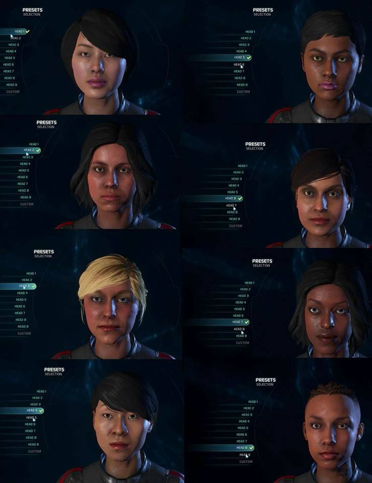 All preset options in char creation in Andromeda | Mass Effect ...