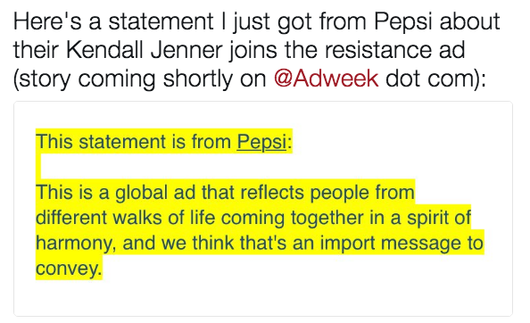 Here s a statement I just got from Pepsi about their Kendall Jenner joins  the resistance ad c5ba8f4a1fd5