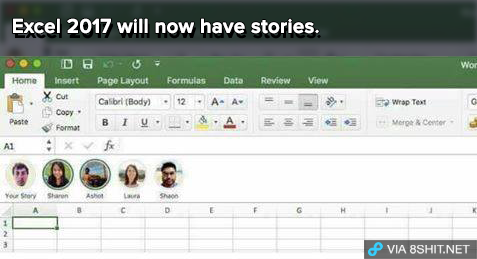 "from Know Your Meme, a photoshopped image of Microsoft Excel with ""stories"" — a row of usernames and icons between the toolbars and the spreadsheet proper, just like in Snapchat and Instagram."
