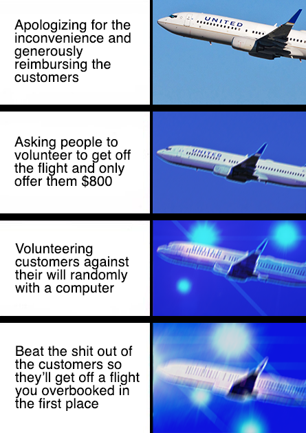 united apologizing for the inconvenience and generously reimbursing the customers asking people to volunteer to get