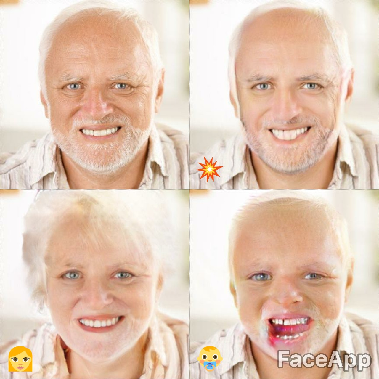 Harold does FaceApp | Hide The Pain Harold | Know Your Meme