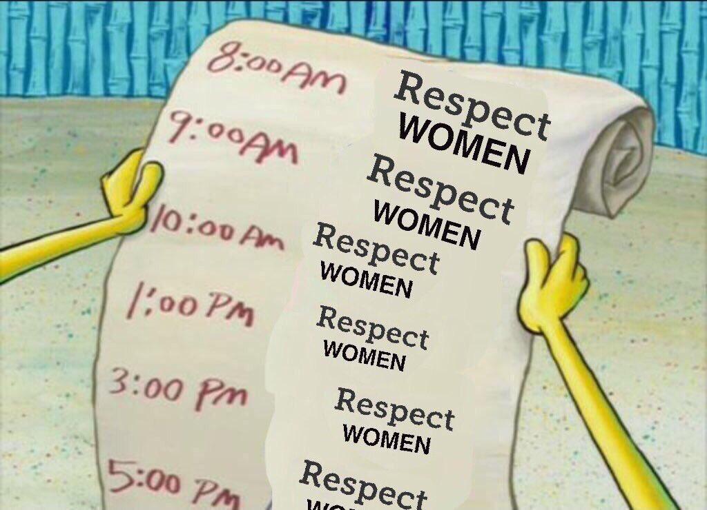 b33 spongebob's to do list respect women know your meme