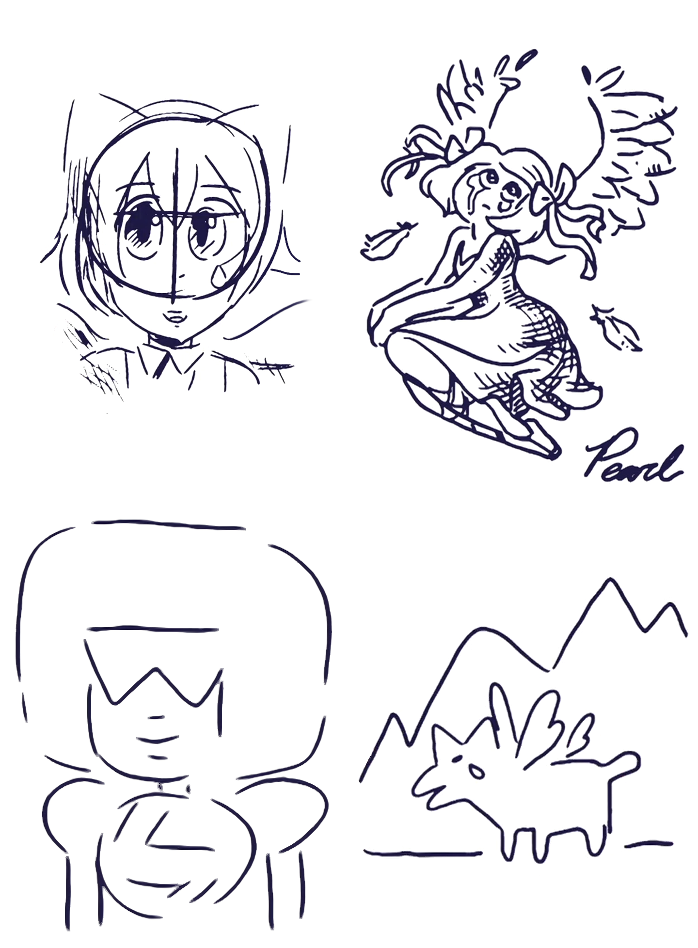 All Three Sketches Of Aquamarine And One Of Garnet Steven
