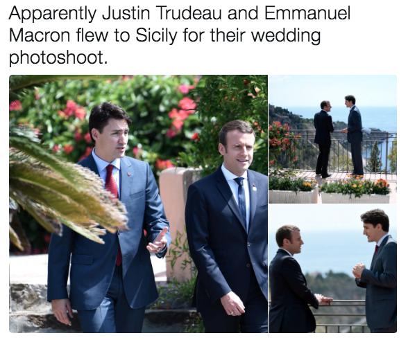 Emmanuel Macron Wedding.Wedding Photoshoot Emmanuel Macron And Justin Trudeau Bromance