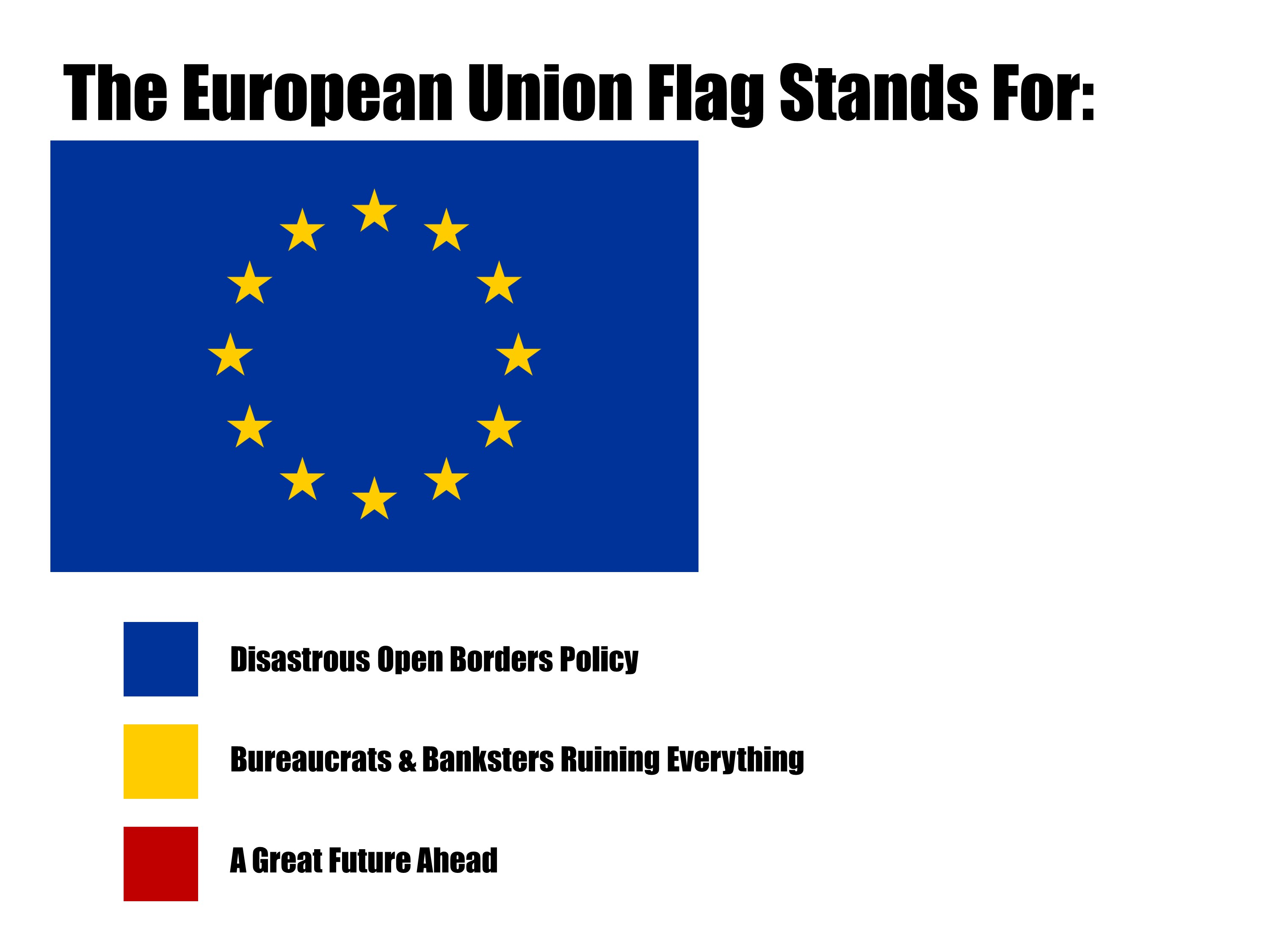The European Union Flag Stands For Disastrous Open Borders Policy Bureaucrats Banksters Ruining Everything
