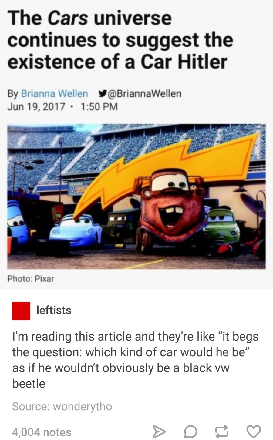 The Hitler Car Pixar S Cars Know Your Meme