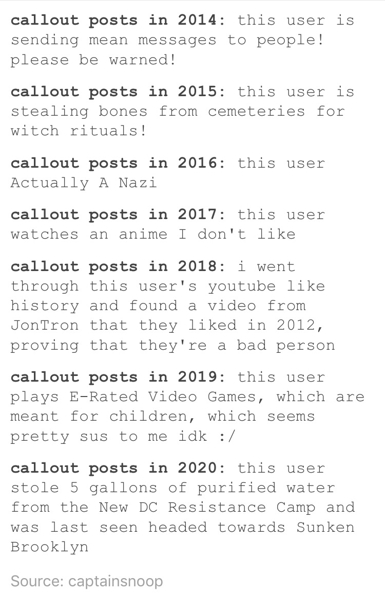callout posts over the years | tumblr | know your meme