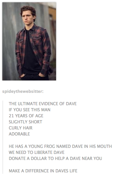 Save Dave   The Frog In Tom Holland's Mouth   Know Your Meme