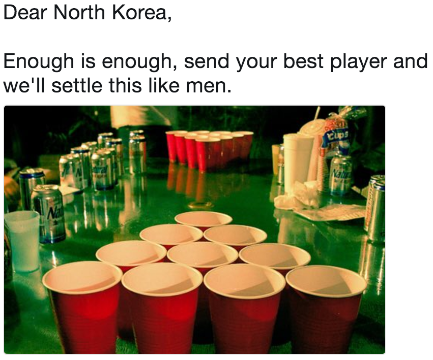Dear North Korea, Enough is enough, send your best player and we'll