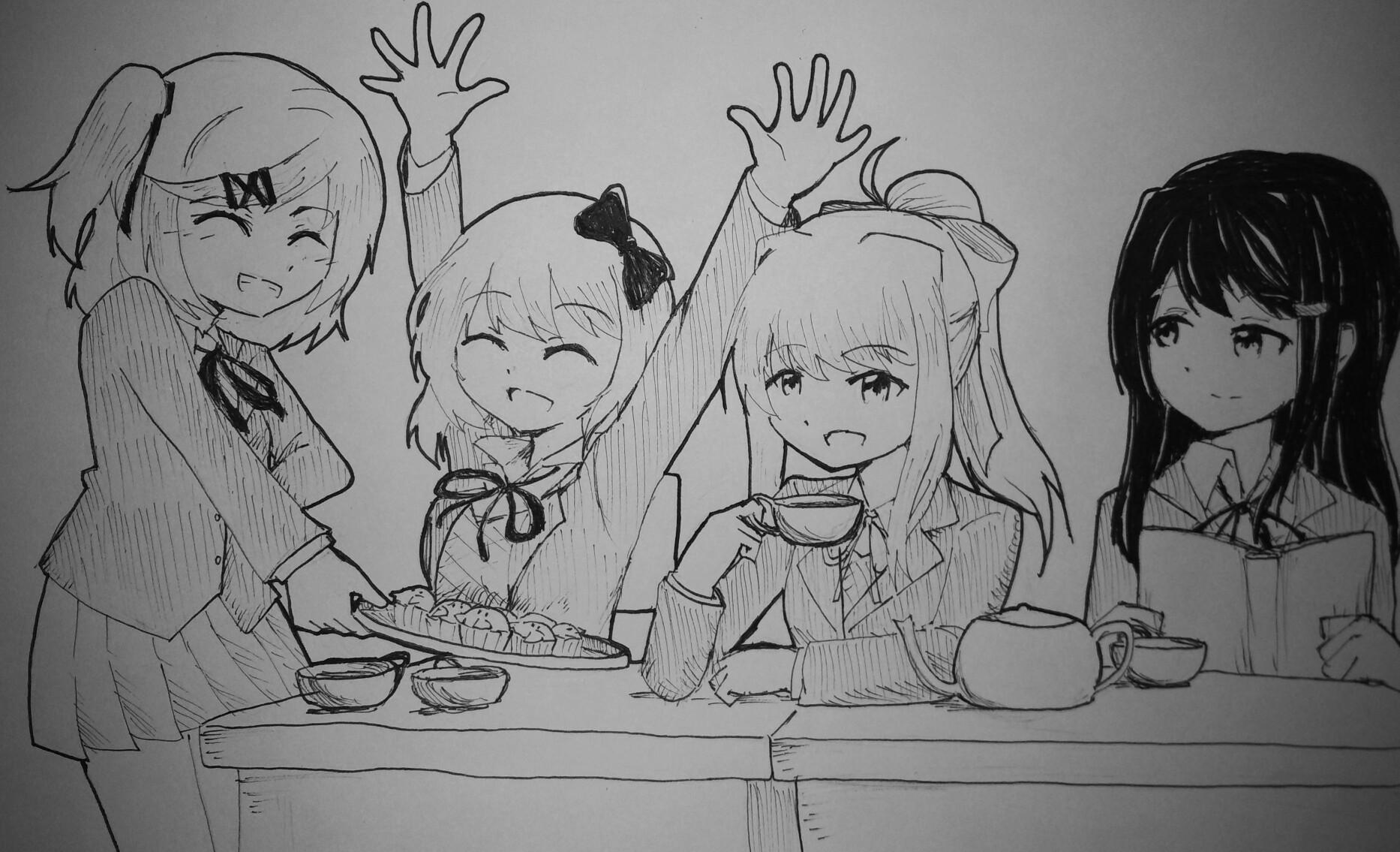 Doki Literature Club White Black And Mammal Art Cartoon Drawing Emotion Sketch